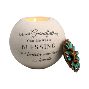 "Grandfather by Light Your Way Memorial -   4"" Round Tea Light Candle Holder"