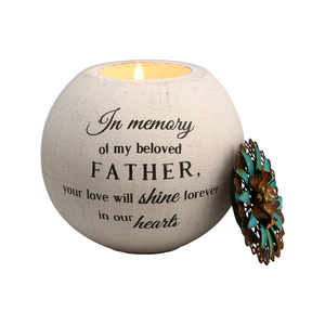 "Father by Light Your Way Memorial -   4"" Round Tea Light Candle Holder"