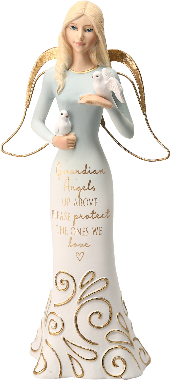 "Guardian Angels by Comfort Collection - Guardian Angels - 9"" Angel Holding Doves"