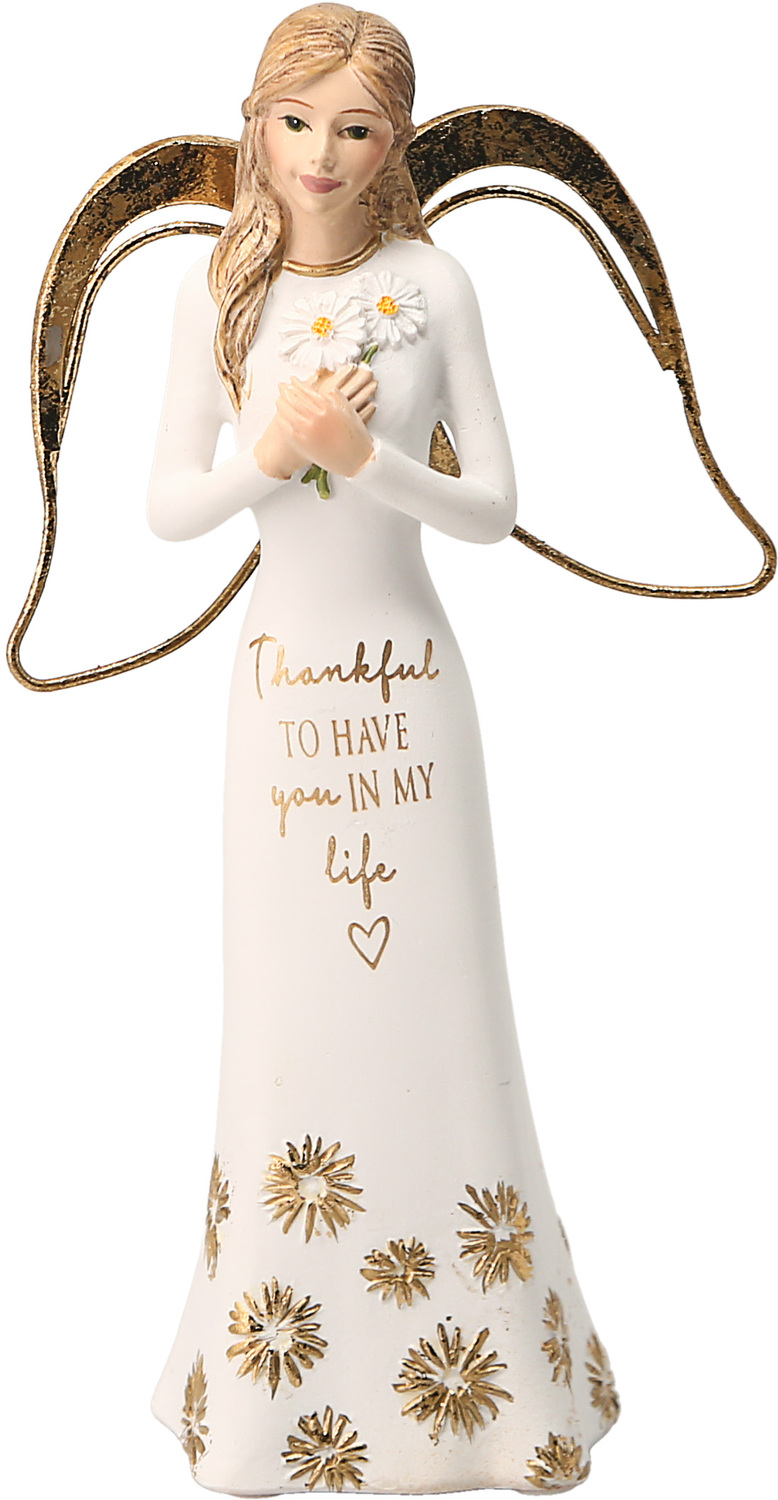 "Thankful by Comfort Collection - Thankful - 5.5"" Angel Holding Flowers"