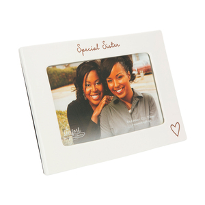 "Special Sister by Comfort Collection - 7.5"" x 5.5"" Ceramic Frame (Holds a 6"" x 4"" Photo)"