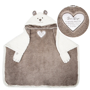 "Bear Hugs by Comfort Blanket - 30"" x 40"" Hooded Sherpa Blanket"