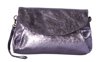 "Nicolette Dark Silver by H2Z Metallic Leather Bag - 10"" x 6.5"" Metallic Leather Purse/Handbag"
