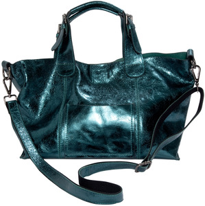 "Anissa Dark Green by H2Z Metallic Leather Bag - 14"" x 9.5"" Metallic Leather Purse/Handbag"