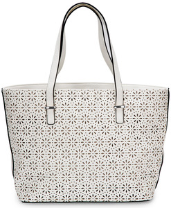 "Alex Tote in White by H2Z Laser Cut Handbags - 11"" x 17"" x 6"" Laser Cut Purse/Handbag"