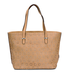 "Alex Tote in Tan by H2Z Laser Cut Handbags - 17"" x 11"" Laser Cut Leather Purse/Handbag"