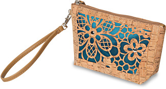 "Laurel Teal by H2Z Laser Cut Handbags - 8"" x 2.5"" x 5"" Cork Bag"