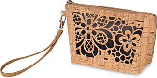 "Laurel Black by H2Z Laser Cut Handbags - 8"" x 2.5"" x 5"" Cork Bag"
