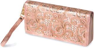 "Felicity Blush by H2Z Laser Cut Handbags - 7.5"" x 1"" x 3.75"" Wallet"