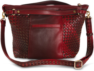 "Jerah Marsala by H2Z Ombre Handbags - 14"" x 6"" x 11"" Woven Ombre Purse/Large Crossbody Bag"