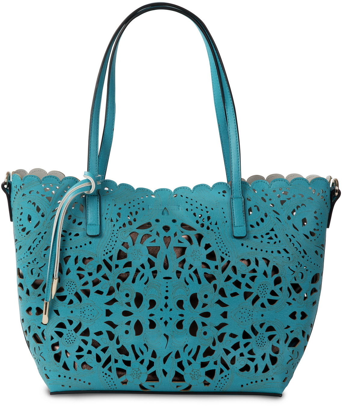 Alison Teal by H2Z Laser Cut Handbags - Alison Teal - Teal/Chocolate Tote