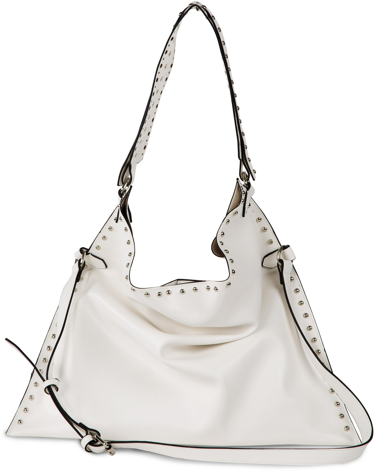 Lorin White by H2Z Laser Cut Handbags - Lorin White - White Studded Slouch Bag