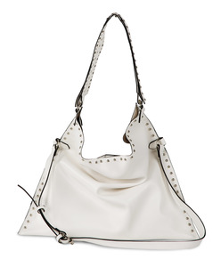 Lorin White by H2Z Laser Cut Handbags - White Studded Slouch Bag