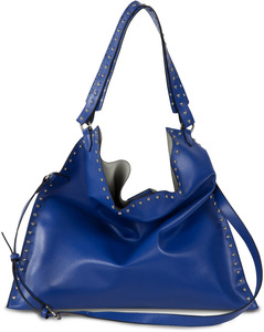 Lorin Cobalt by H2Z Laser Cut Handbags - Cobalt Studded Slouch Bag