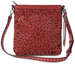 Megan Coral by H2Z Laser Cut Handbags - Coral/Aqua Cross Body