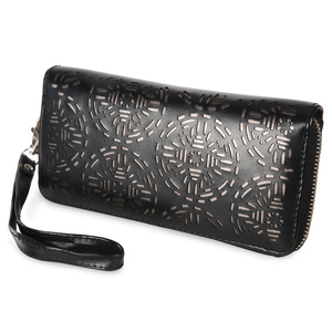 "Dawn Licorice by H2Z Laser Cut Handbags - 7.5"" x 1"" x 3.75"" Wallet"