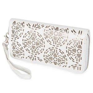 "Dawn Marshmallow by H2Z Laser Cut Handbags - 7.5"" x 1"" x 3.75"" Wallet"