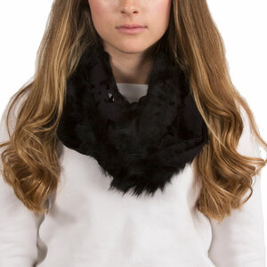 Black by H2Z Scarves - Micro Suede and  Fur Infinity Scarf