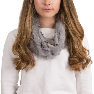 Gray by H2Z Scarves - Micro Suede and  Fur Infinity Scarf