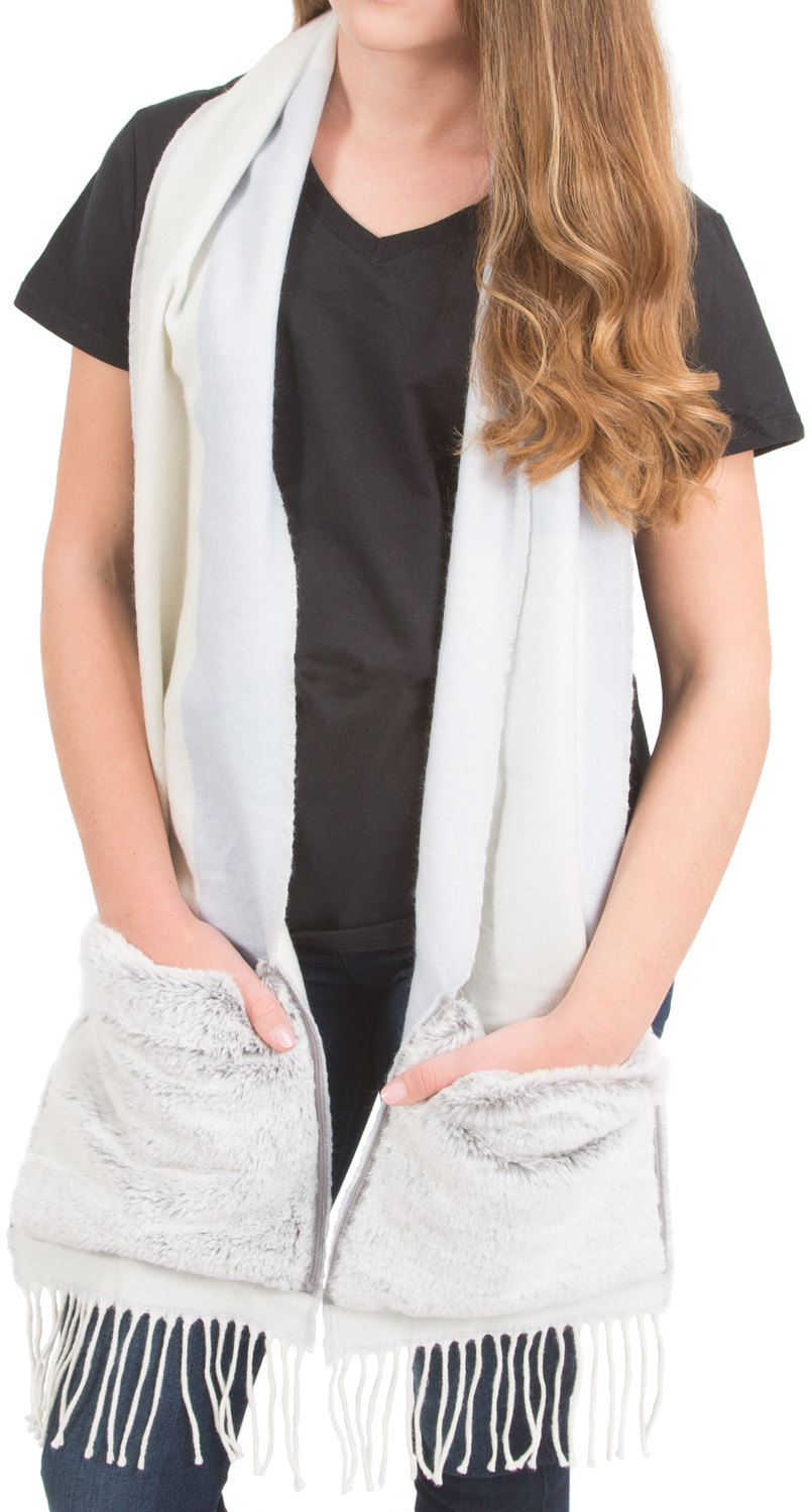 "Winter White by H2Z Scarves - Winter White - 71"" Brushed Acrylic Faux Fur Pocket Scarf"