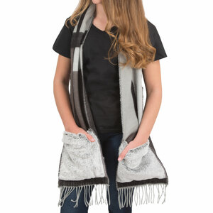 "Black & Gray by H2Z Scarves - 71"" Brushed Acrylic Faux Fur Pocket Scarf"