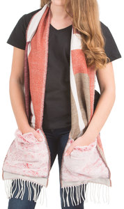 "Maroon & Tan by H2Z Scarves - 71"" Brushed Acrylic Faux Fur Pocket Scarf"