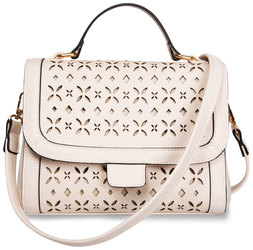 "Beige by H2Z Laser Cut Handbags - 10.25"" x 4.75"" x 8"" Laser Cut Mini Messenger"