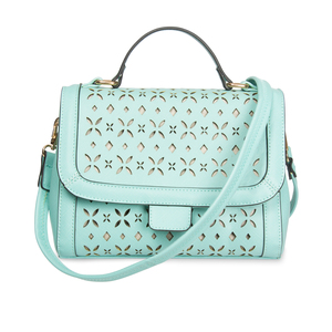 "Aqua by H2Z Laser Cut Handbags - 10.25"" x 4.75"" x 8"" Laser Cut Mini Messenger"