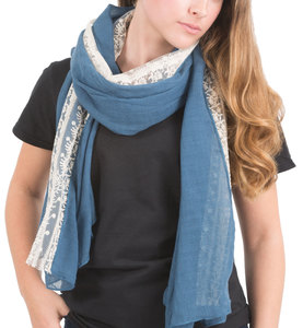 "Blue by H2Z Scarves - 70"" x 30"" Lace Accent Scarf"