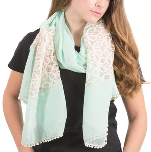 "Mint by H2Z Scarves - 70"" x 30"" Lace Accent Scarf"