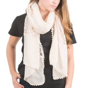"Cream by H2Z Scarves - 70"" x 30"" Lace Accent Scarf"