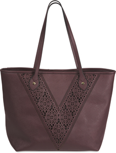 "Jessica Wine by H2Z Laser Cut Handbags - 17"" x 6"" x 12.5"" Wine/Black Laser Cut Tote"