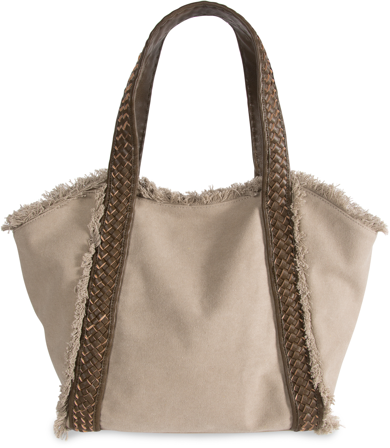 "Khaki by H2Z Handbags - Khaki - 19"" x 13"" Frayed Canvas Handbag"