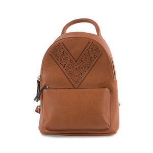 "Cognac Ali by H2Z Laser Cut Handbags - 9"" x 11.5"" Backpack Handbag"