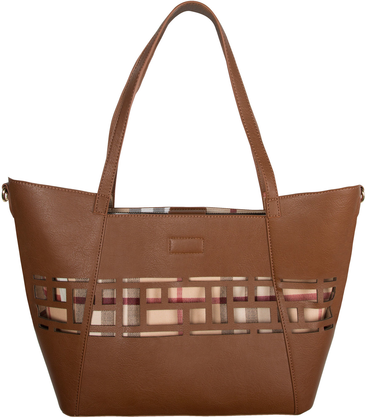"Walnut Wine by H2Z Handbags - Walnut Wine - 18"" x 11"" Laser Cut Plaid Tote"
