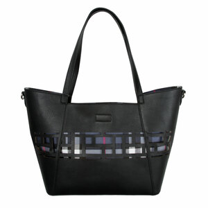 "Raven Rose by H2Z Handbags - 18"" x 11"" Laser Cut Plaid Tote"