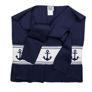 "Navy Anchors by H2Z Scarves - 17"" x 41"" Faux Sweater Scarf"