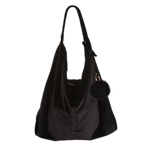 Black by H2Z Velvet - Velvet Shoulder Bag