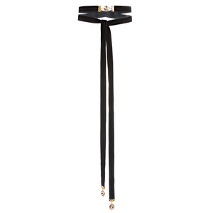 Black by H2Z Velvet - Velvet Tie  Choker with Swarovski Elements
