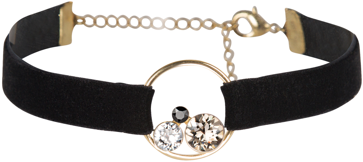 Black by H2Z Velvet - Black - Velvet Bracelet  with Swarovski Elements