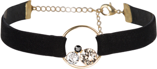 Black by H2Z Velvet - Velvet Bracelet  with Swarovski Elements