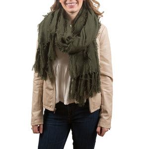 Army Green by H2Z Scarves - Oversized Frayed Scarf