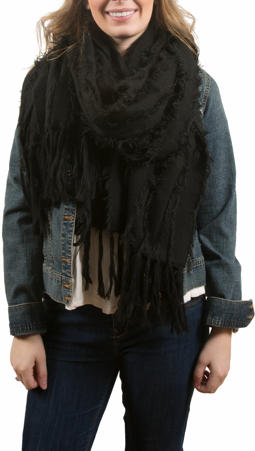 Black by H2Z Scarves - Black - Oversized Frayed Scarf