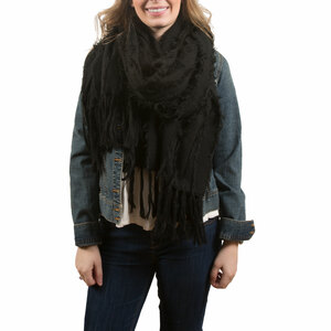 Black by H2Z Scarves - Oversized Frayed Scarf