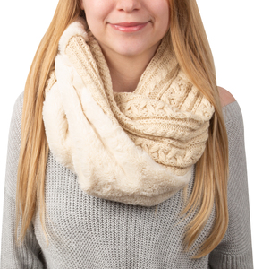 Winter Cream by H2Z Scarves -  Cable Knit & Faux Fur Infinity Scarf