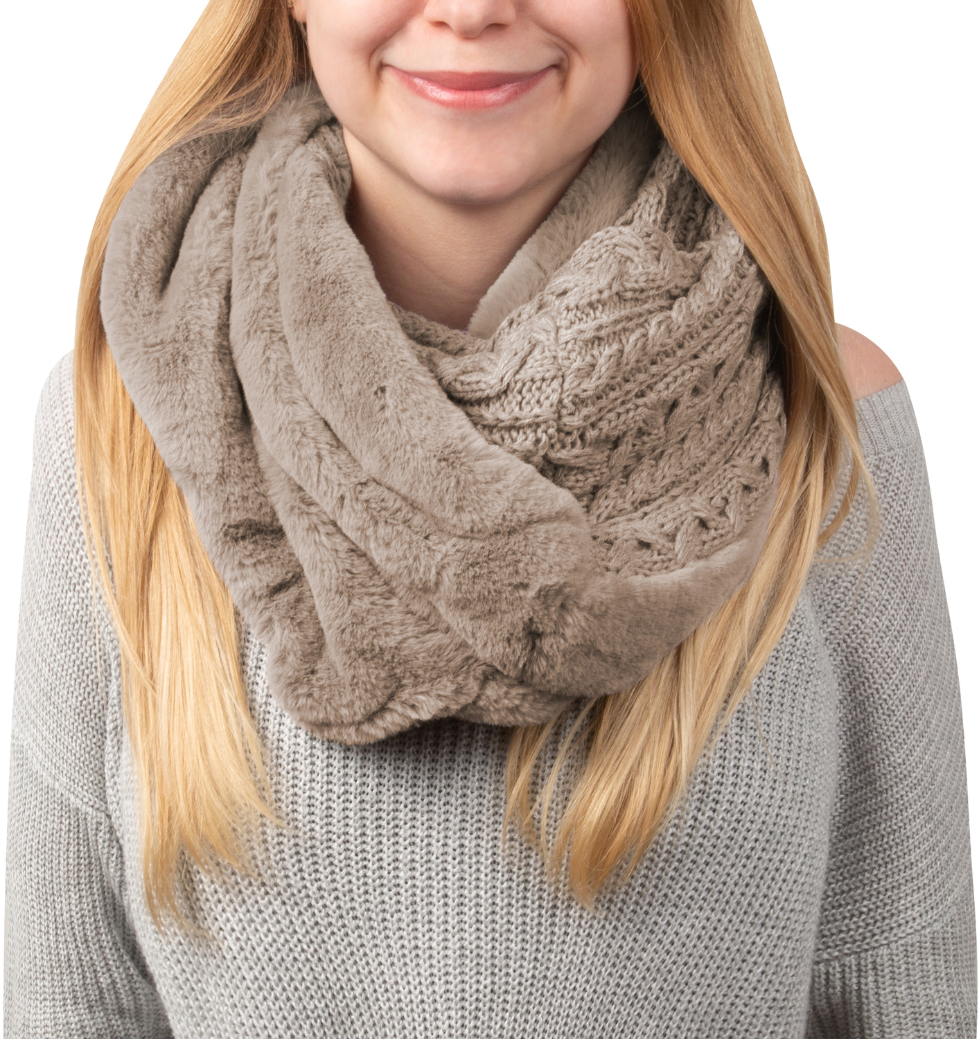 Soft Beige by H2Z Scarves - Soft Beige -  Cable Knit & Faux Fur Infinity Scarf