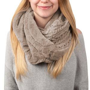 Soft Beige by H2Z Scarves -  Cable Knit & Faux Fur Infinity Scarf