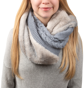 Cadet Blue by H2Z Scarves -  Cable Knit & Faux Fur Infinity Scarf