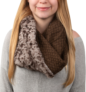 Warm  Brown by H2Z Scarves - Weave Knit & Faux Fur Infinity Scarf