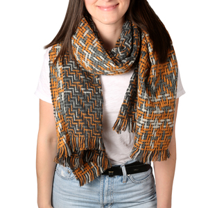 "Marigold & Granite by H2Z Scarves - 78"" x 26"" Woven Scarf"